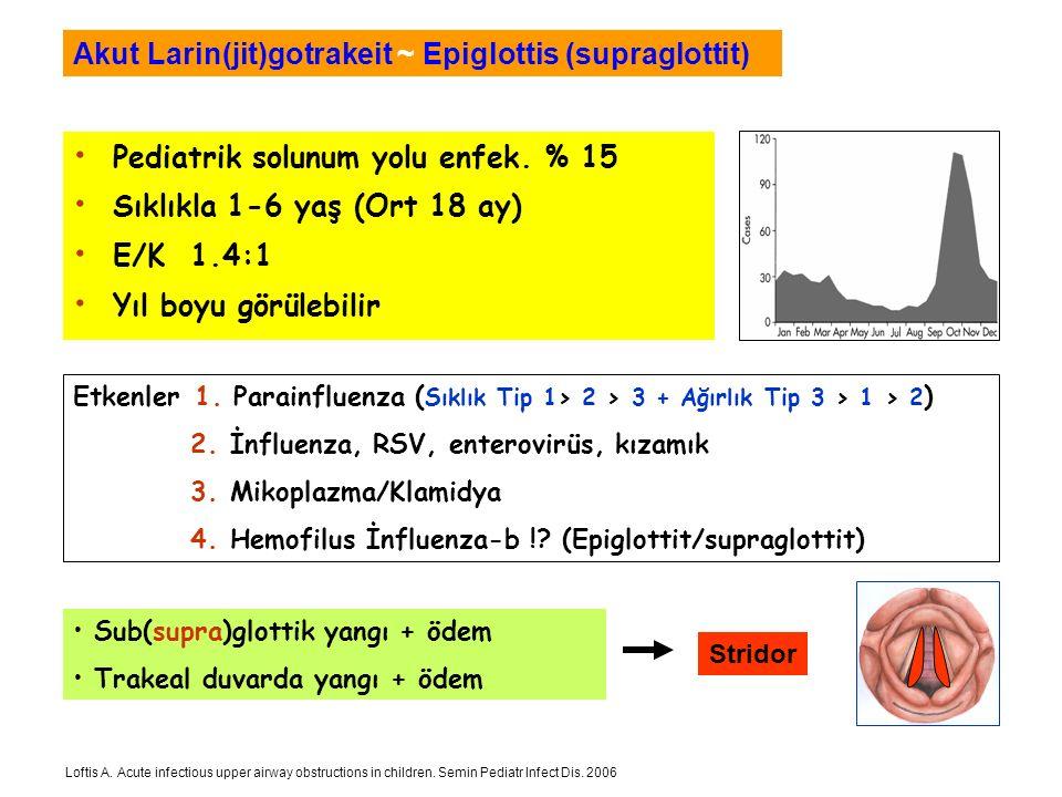 Pediatrik solunum yolu enfek. % 15 Sıklıkla 1-6 yaş (Ort 18 ay) E/K 1.4:1 Yıl boyu görülebilir Akut Larin(jit)gotrakeit ~ Epiglottis (supraglottit) Su