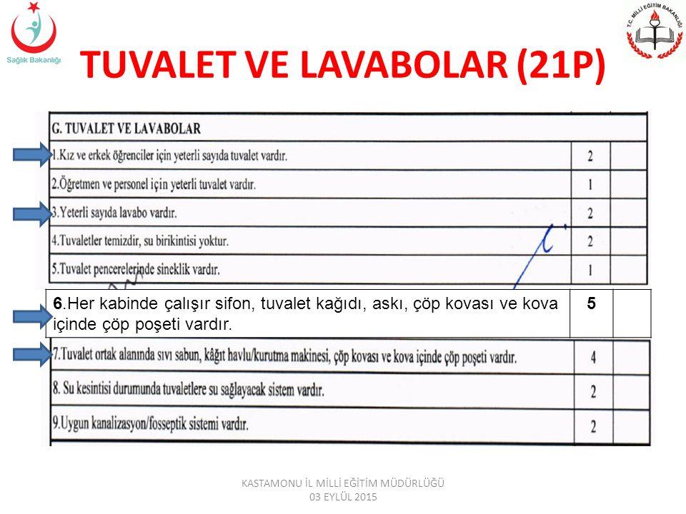 TUVALET VE LAVABOLAR (21P) 6.Her kabinde çalışır sifon, tuvalet kağıdı, askı, çöp kovası ve kova içinde çöp poşeti vardır.
