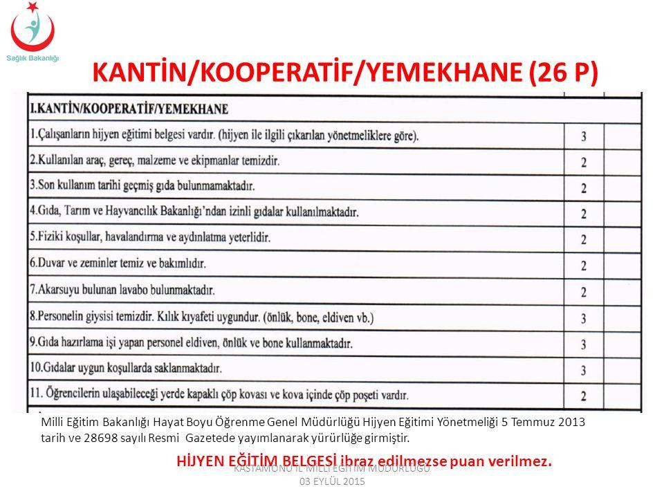 KANTİN/KOOPERATİF/YEMEKHANE (26 P) Milli Eğitim Bakanlığı Hayat Boyu Öğrenme Genel Müdürlüğü Hijyen Eğitimi Yönetmeliği 5 Temmuz 2013 tarih ve 28698 sayılı Resmi Gazetede yayımlanarak yürürlüğe girmiştir.