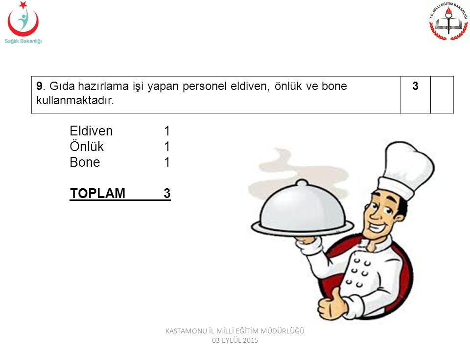 9.Gıda hazırlama işi yapan personel eldiven, önlük ve bone kullanmaktadır.