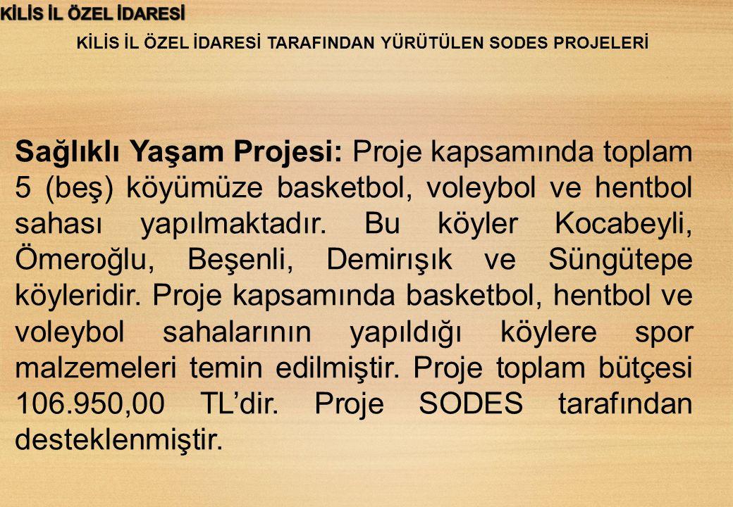 KİLİS İL ÖZEL İDARESİ TARAFINDAN YÜRÜTÜLEN SODES PROJELERİ Futbol Turnuvası Projesi: Proje kapsamında toplam 8 (sekiz) köyümüze futbol sahası yapılmaktadır.