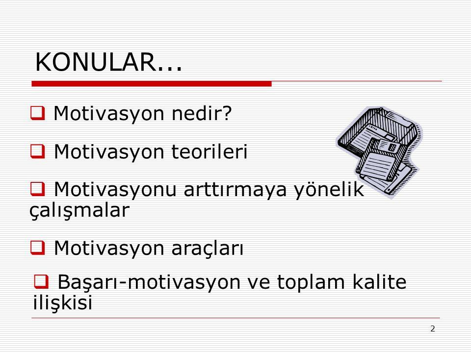 2 KONULAR...  Motivasyon nedir?  Motivasyon teorileri  Motivasyonu arttırmaya yönelik çalışmalar  Motivasyon araçları  Başarı-motivasyon ve topla