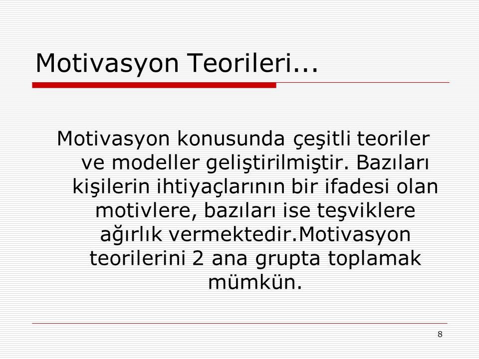 8 Motivasyon Teorileri... Motivasyon konusunda çeşitli teoriler ve modeller geliştirilmiştir. Bazıları kişilerin ihtiyaçlarının bir ifadesi olan motiv