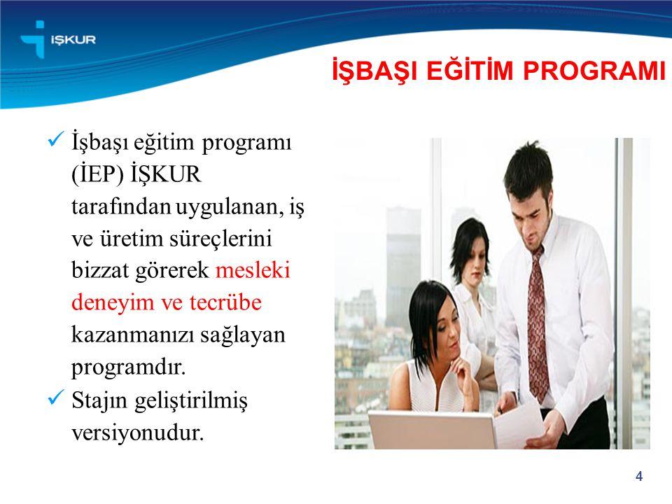 İşbaşı eğitim programı (İEP) İŞKUR tarafından uygulanan, iş ve üretim süreçlerini bizzat görerek mesleki deneyim ve tecrübe kazanmanızı sağlayan progr