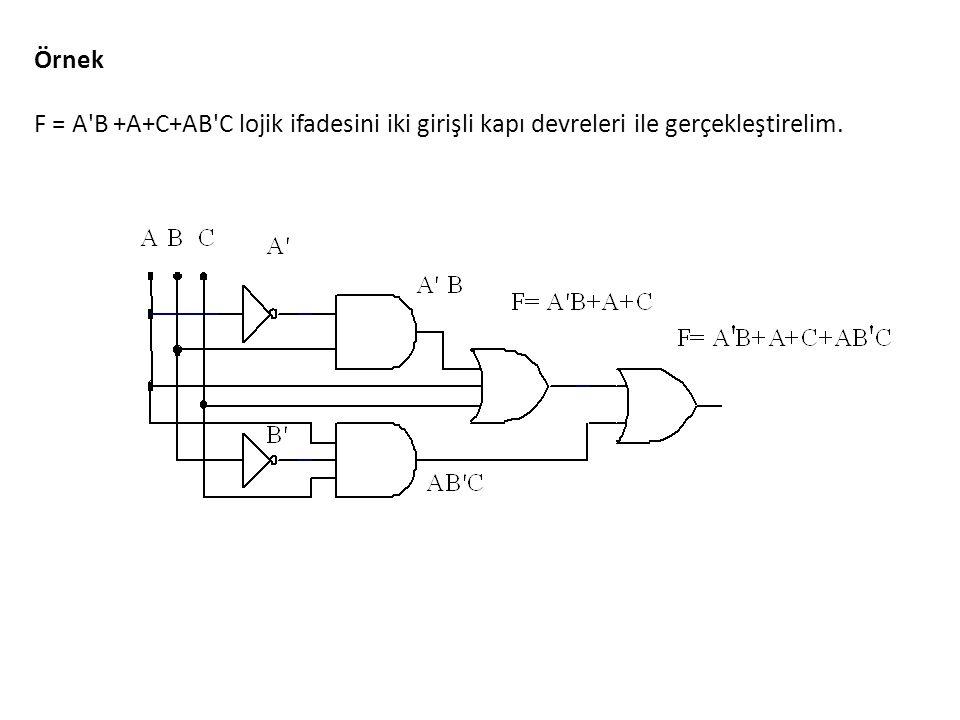 Örnek F = A'B +A+C+AB'C lojik ifadesini iki girişli kapı devreleri ile gerçekleştirelim.