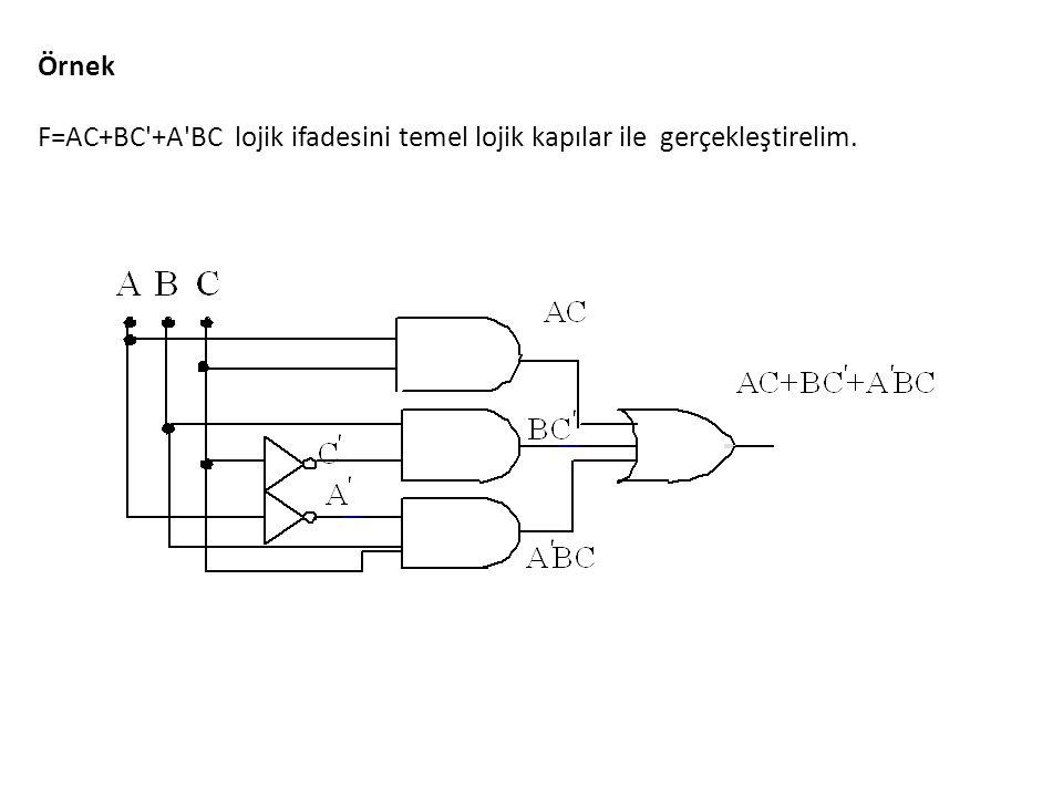 Örnek F=AC+BC'+A'BC lojik ifadesini temel lojik kapılar ile gerçekleştirelim.