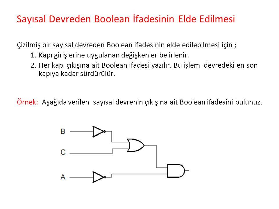Sayısal Devreden Boolean İfadesinin Elde Edilmesi Çizilmiş bir sayısal devreden Boolean ifadesinin elde edilebilmesi için ; 1.Kapı girişlerine uygulan