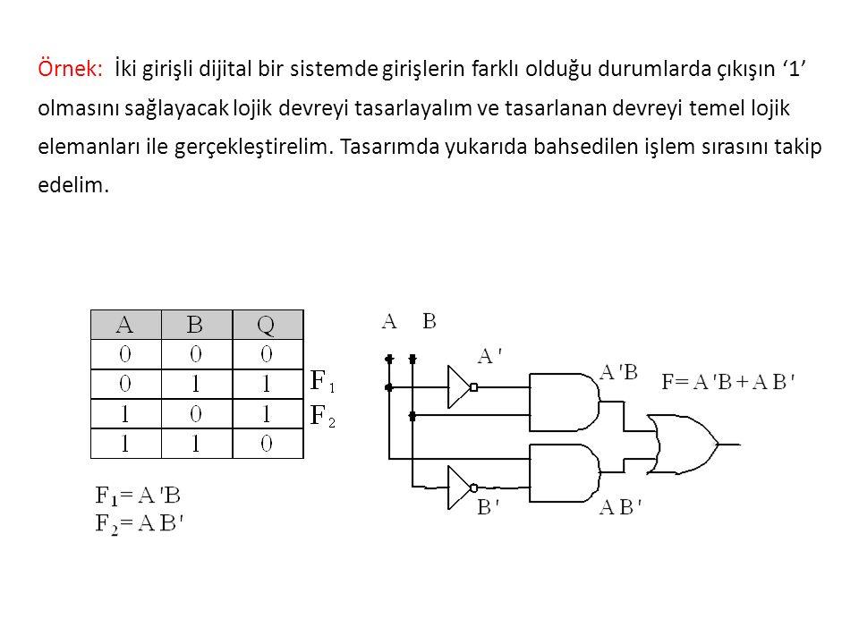 Örnek: İki girişli dijital bir sistemde girişlerin farklı olduğu durumlarda çıkışın '1' olmasını sağlayacak lojik devreyi tasarlayalım ve tasarlanan d