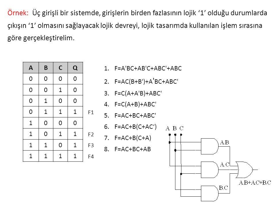 Örnek: Üç girişli bir sistemde, girişlerin birden fazlasının lojik '1' olduğu durumlarda çıkışın '1' olmasını sağlayacak lojik devreyi, lojik tasarımd
