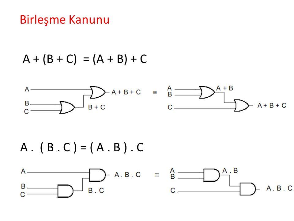 Örnek F = A B +A+C+AB C lojik ifadesini iki girişli kapı devreleri ile gerçekleştirelim.