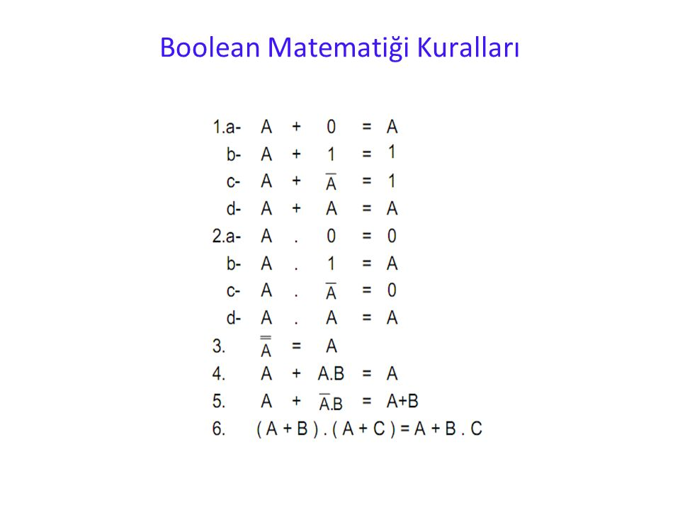 Boolean Matematiği Kuralları