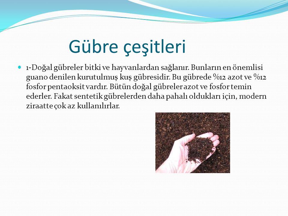 Gübre çeşitleri 1-Doğal gübreler bitki ve hayvanlardan sağlanır. Bunların en önemlisi guano denilen kurutulmuş kuş gübresidir. Bu gübrede %12 azot ve