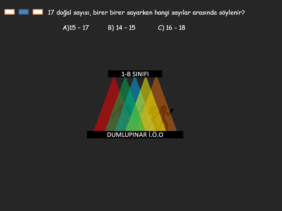 DUMLUPINAR İ.Ö.O 1-B SINIFI 17 doğal sayısı, birer birer sayarken hangi sayılar arasında söylenir.