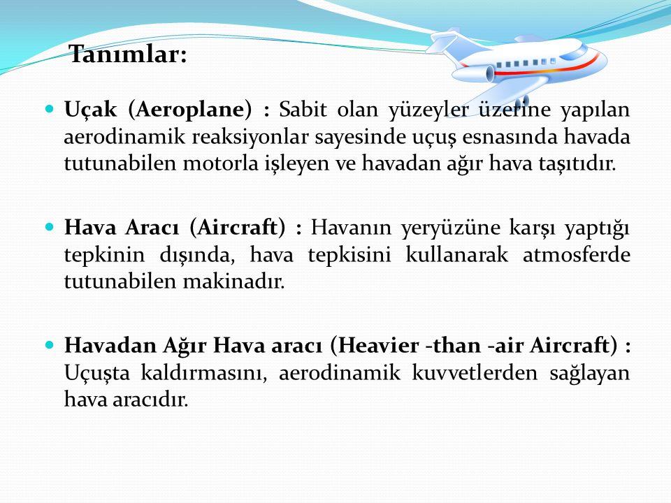Tanımlar: Uçak (Aeroplane) : Sabit olan yüzeyler üzerine yapılan aerodinamik reaksiyonlar sayesinde uçuş esnasında havada tutunabilen motorla işleyen