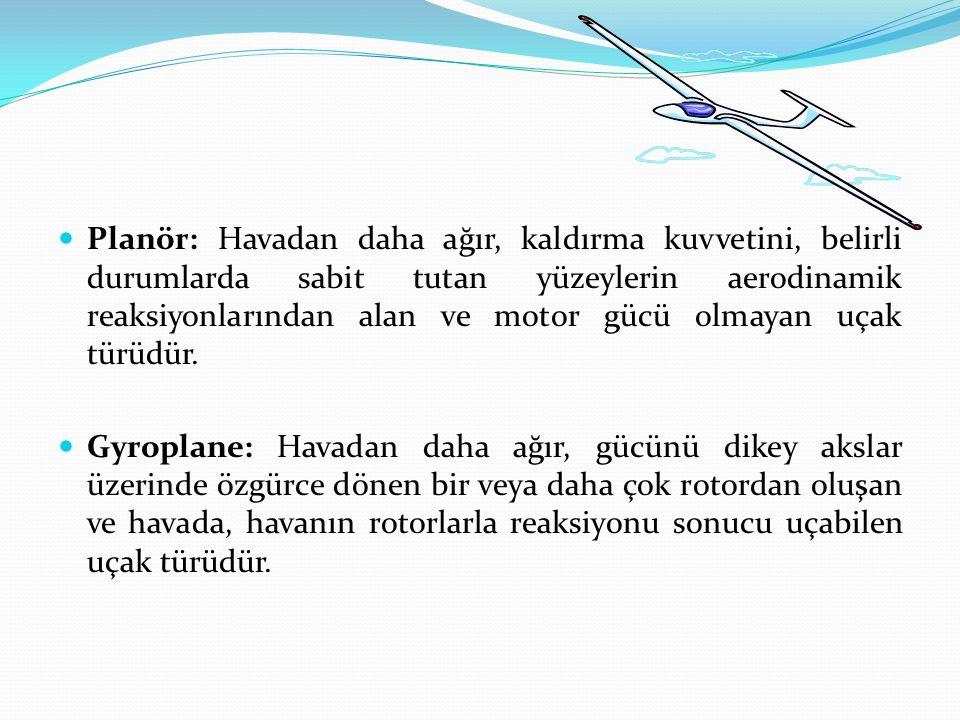 Planör: Havadan daha ağır, kaldırma kuvvetini, belirli durumlarda sabit tutan yüzeylerin aerodinamik reaksiyonlarından alan ve motor gücü olmayan uçak