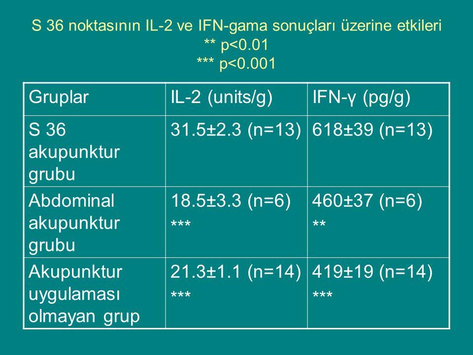 S 36 noktasının IL-2 ve IFN-gama sonuçları üzerine etkileri ** p<0.01 *** p<0.001 GruplarIL-2 (units/g)IFN-γ (pg/g) S 36 akupunktur grubu 31.5±2.3 (n=13)618±39 (n=13) Abdominal akupunktur grubu 18.5±3.3 (n=6) *** 460±37 (n=6) ** Akupunktur uygulaması olmayan grup 21.3±1.1 (n=14) *** 419±19 (n=14) ***