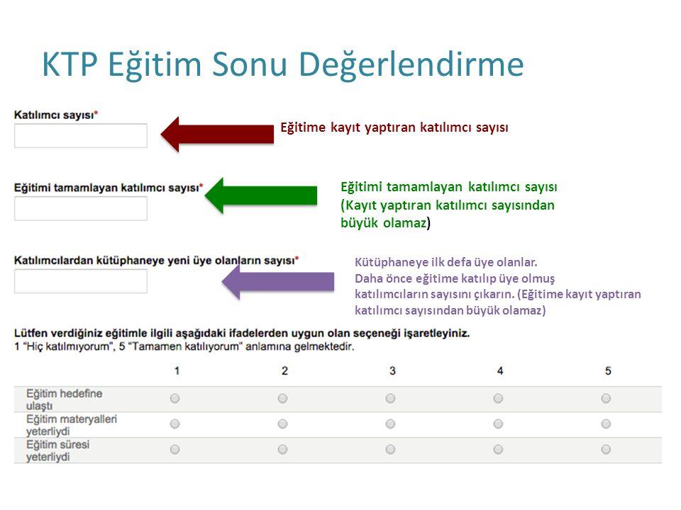 KTP Eğitim Sonu Değerlendirme Eğitime kayıt yaptıran katılımcı sayısı Eğitimi tamamlayan katılımcı sayısı (Kayıt yaptıran katılımcı sayısından büyük o