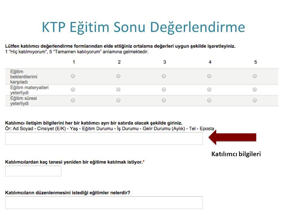 KTP Eğitim Sonu Değerlendirme Katılımcı bilgileri
