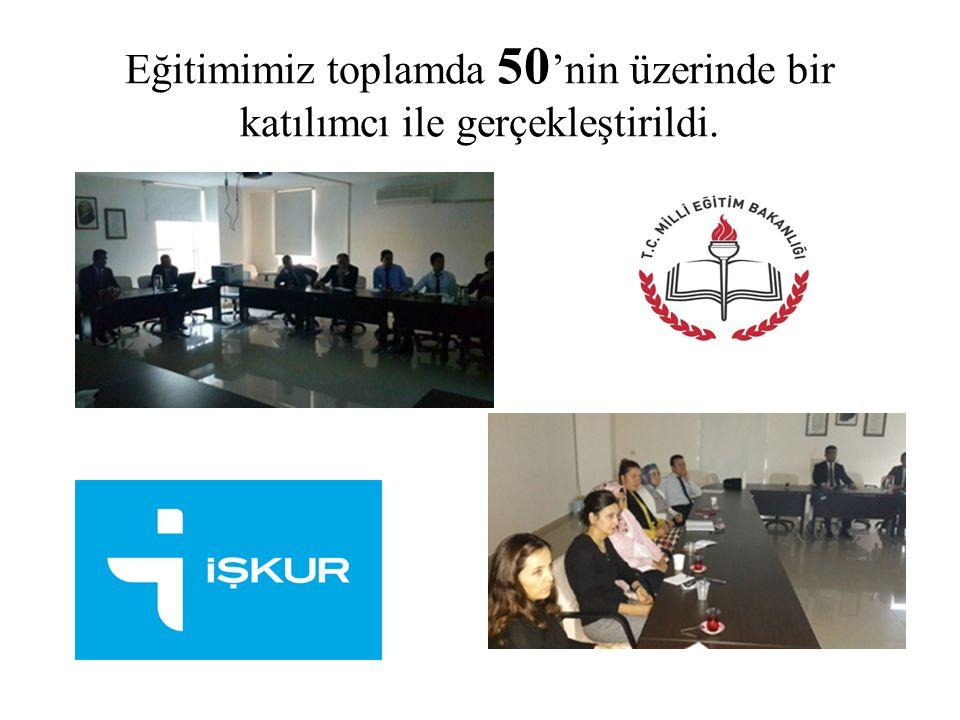 Eğitimimiz toplamda 50 'nin üzerinde bir katılımcı ile gerçekleştirildi.