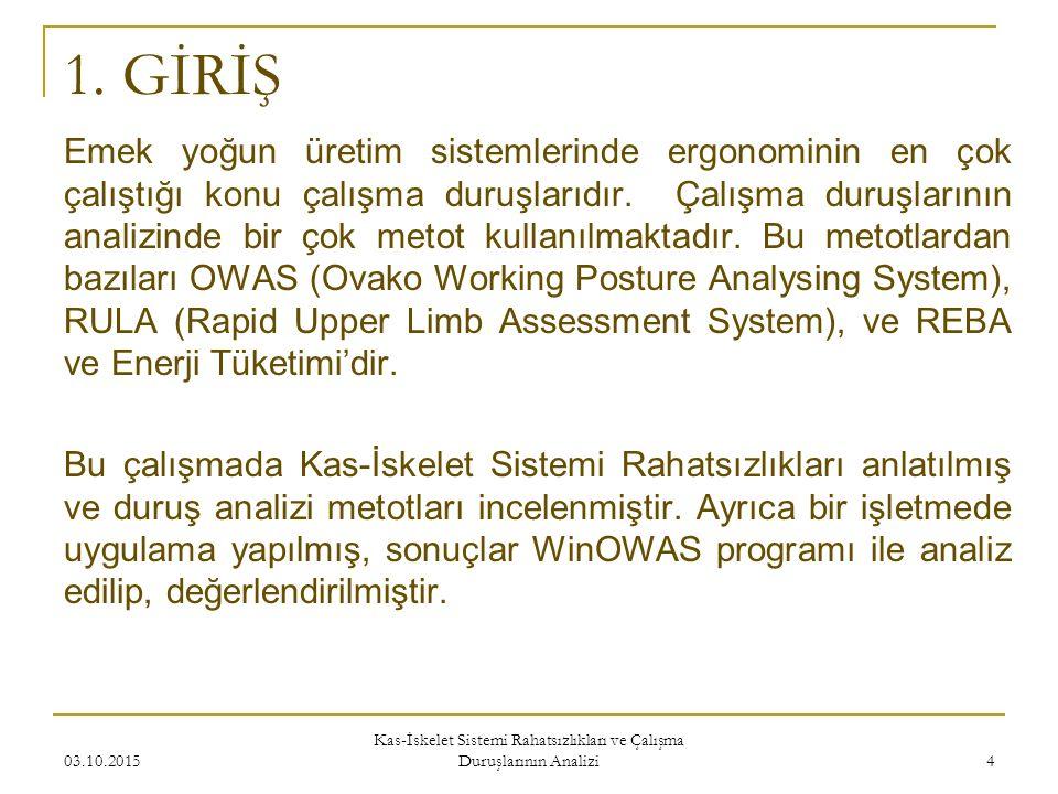Emek yoğun üretim sistemlerinde ergonominin en çok çalıştığı konu çalışma duruşlarıdır.