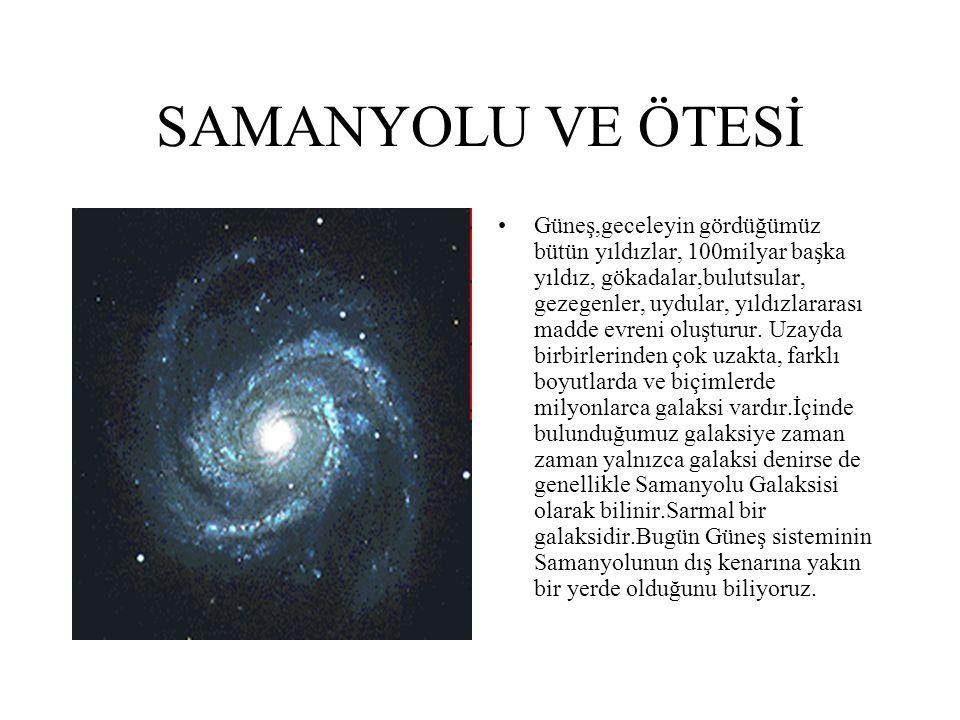 SAMANYOLU VE ÖTESİ Güneş,geceleyin gördüğümüz bütün yıldızlar, 100milyar başka yıldız, gökadalar,bulutsular, gezegenler, uydular, yıldızlararası madde