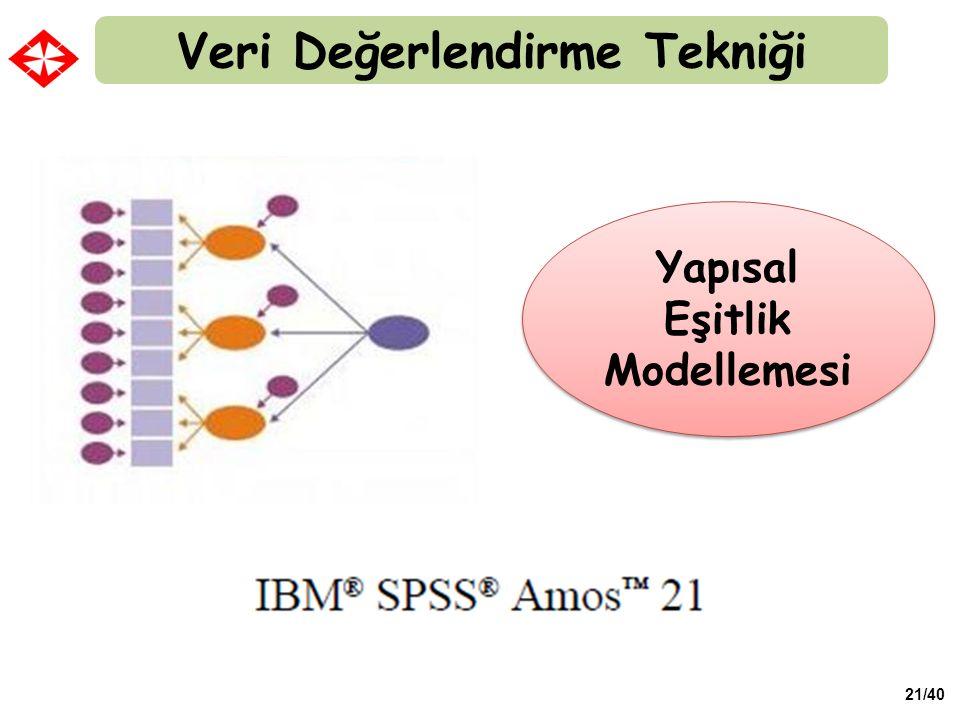 21/40 Veri Değerlendirme Tekniği Yapısal Eşitlik Modellemesi
