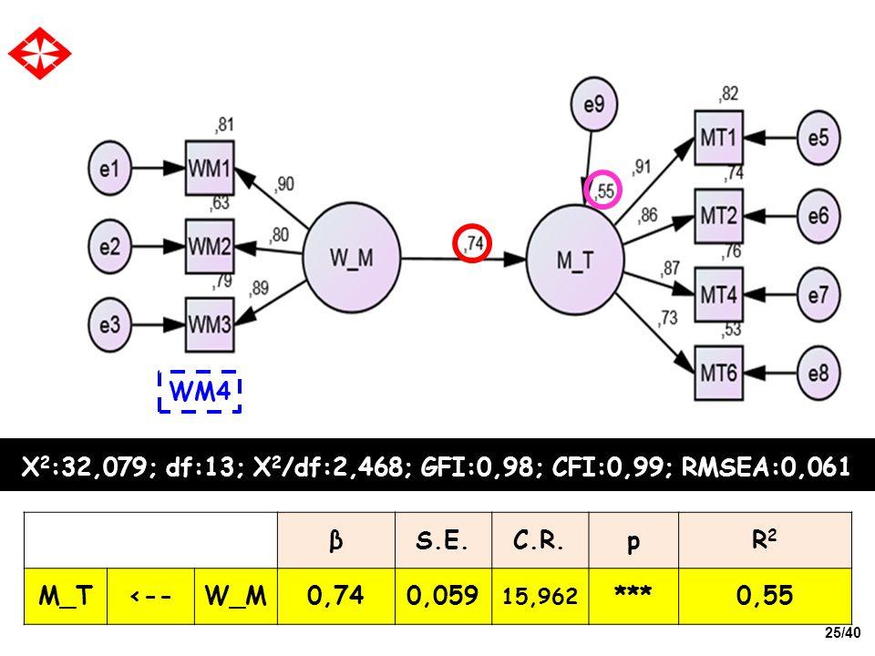 25/40 X 2 :32,079; df:13; X 2 /df:2,468; GFI:0,98; CFI:0,99; RMSEA:0,061 WM4 βS.E.C.R.pR2R2 M_T<--W_M0,740,059 15,962 ***0,55
