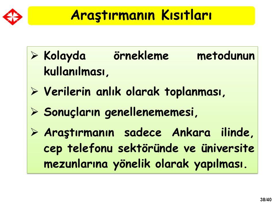38/40  Kolayda örnekleme metodunun kullanılması,  Verilerin anlık olarak toplanması,  Sonuçların genellenememesi,  Araştırmanın sadece Ankara ilin