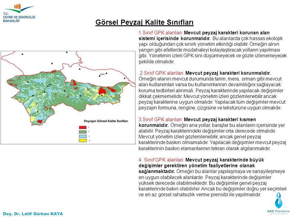 Doç. Dr. Latif Gürkan KAYA 1.Sınıf GPK alanları: Mevcut peyzaj karakteri korunan alan sistemi içerisinde korunmalıdır. Bu alanlarda çok hassas ekoloji