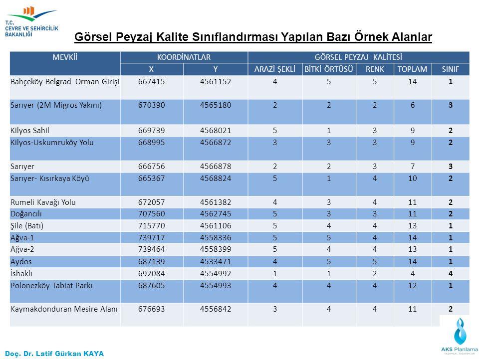 Doç. Dr. Latif Gürkan KAYA MEVKİİKOORDİNATLARGÖRSEL PEYZAJ KALİTESİ XYARAZİ ŞEKLİBİTKİ ÖRTÜSÜRENKTOPLAMSINIF Bahçeköy-Belgrad Orman Girişi667415456115
