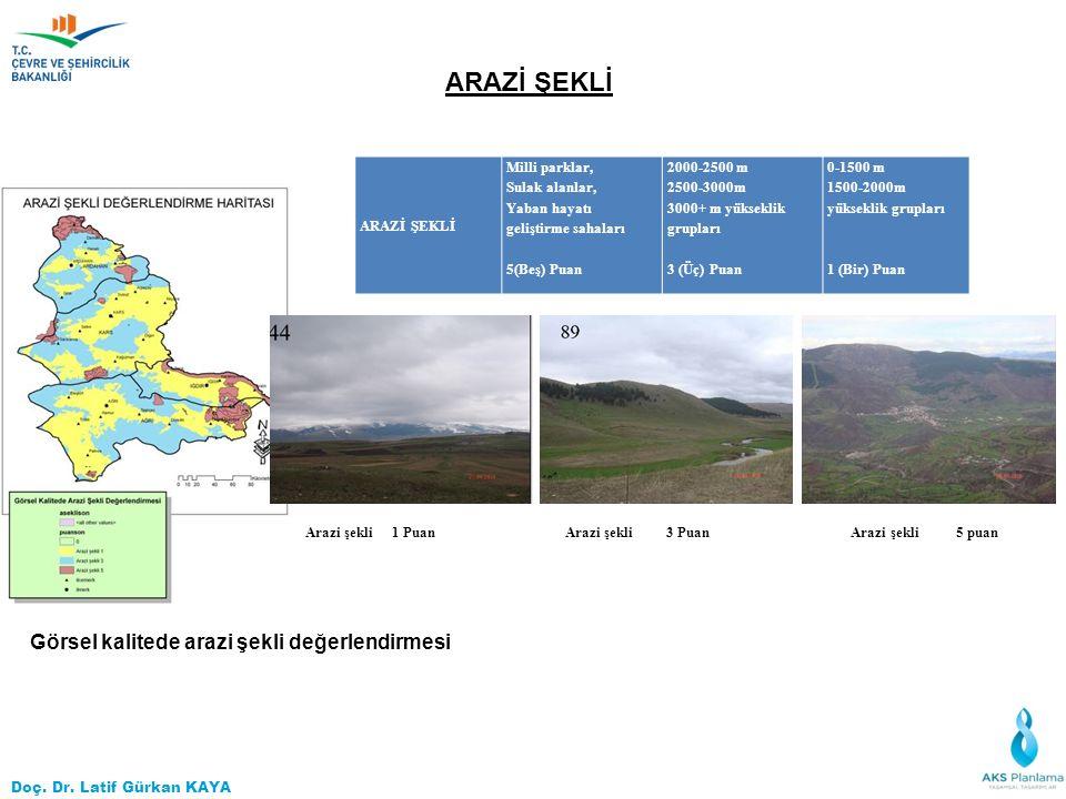 Doç. Dr. Latif Gürkan KAYA ARAZİ ŞEKLİ Arazi şekli 1 Puan Arazi şekli 3 Puan Arazi şekli 5 puan ARAZİ ŞEKLİ Milli parklar, Sulak alanlar, Yaban hayatı