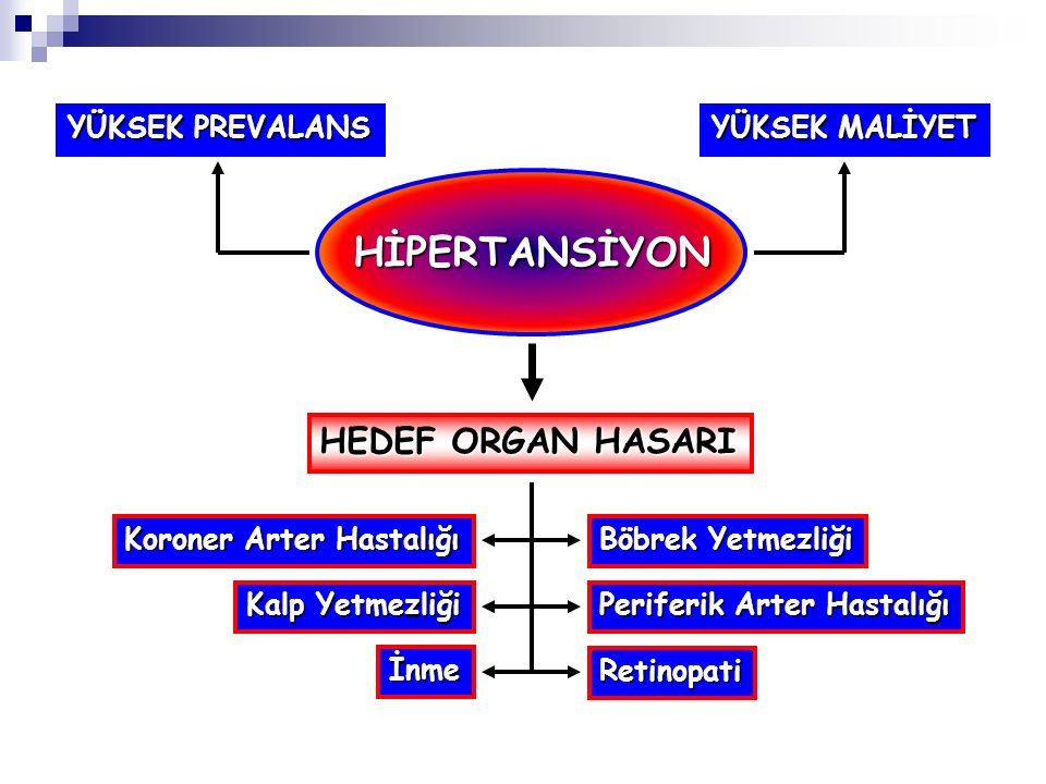 Dirençli hipertansiyon nedenleri İlaca bağlı veya diğer nedenler  Uyumsuzluk  Yetersiz doz  Uygunsuz kombinasyonlar  NSAİ ilaçlar  Kokain, amfetamin  Sempatomimetikler  Oral kontraseptifler  Adrenal steroidler  Siklosporin veya tacrolimus  Eritropoetin  Meyan kökü Uygunsuz kan basıncı ölçümü Volüm yükü ve psödotolerans  Aşırı tuz alımı  BH'na bağlı hipervolemi  Yetersiz diüretik tedavisi Eşlik eden durumlar  Obezite  Aşırı alkol alımı Sekonder hipertansiyon