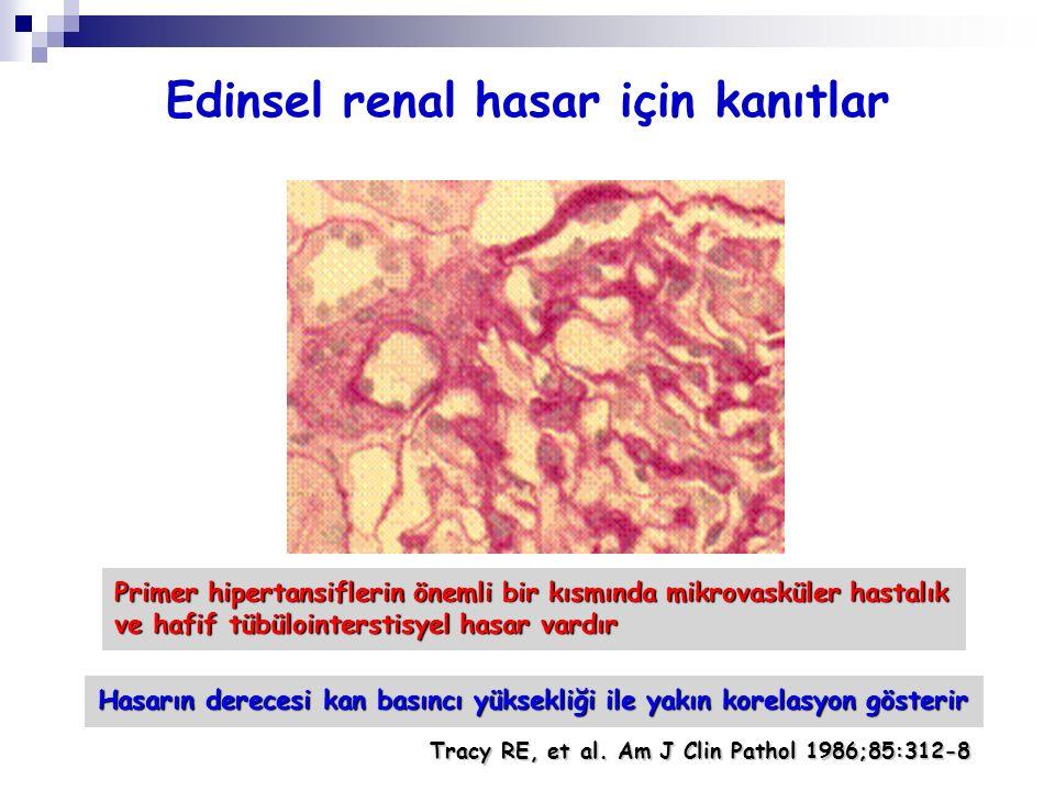 Edinsel renal hasar için kanıtlar Primer hipertansiflerin önemli bir kısmında mikrovasküler hastalık ve hafif tübülointerstisyel hasar vardır Hasarın