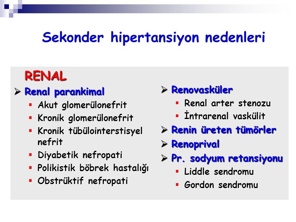  Renovasküler  Renal arter stenozu  İntrarenal vaskülit  Renin üreten tümörler  Renoprival  Pr. sodyum retansiyonu  Liddle sendromu  Gordon se