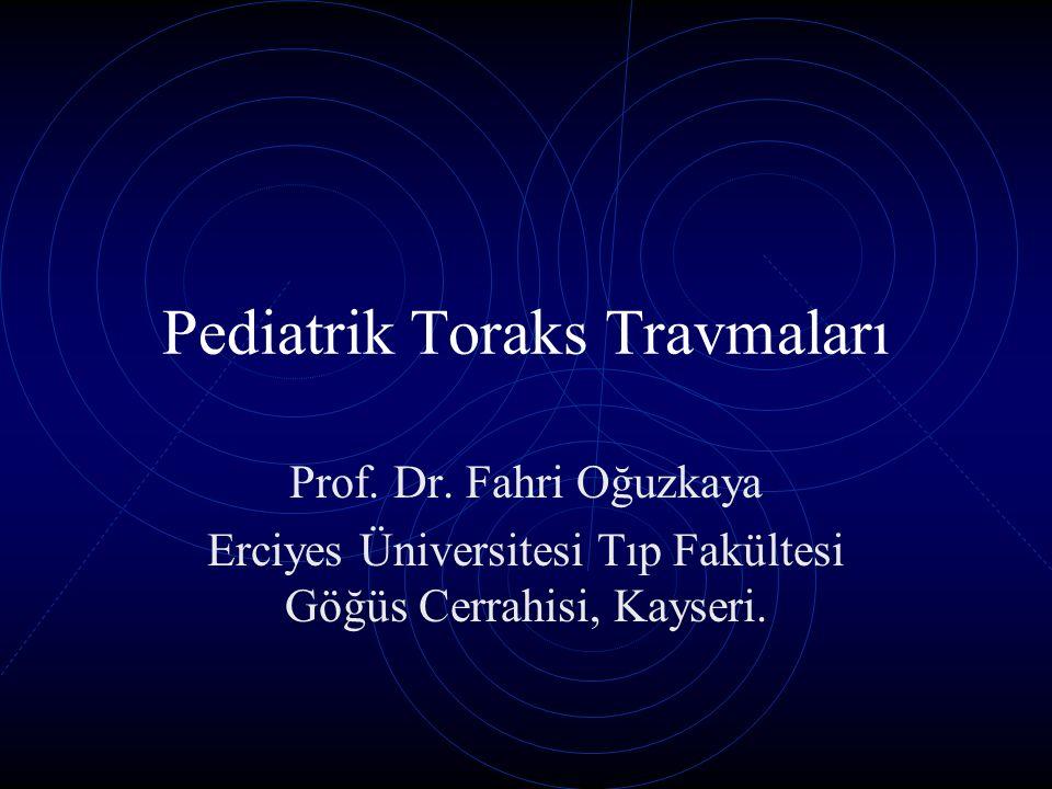 Trakeabronşiyal yaralanmalar Ana bronşlarda kısmi veya tam kesi Trakea membranöz kısmının yırtılması Karinanın 2,5cm çevresinde sık Akut dönemde mortal olabilir, yada aylar sonra stenozla gelebilir.