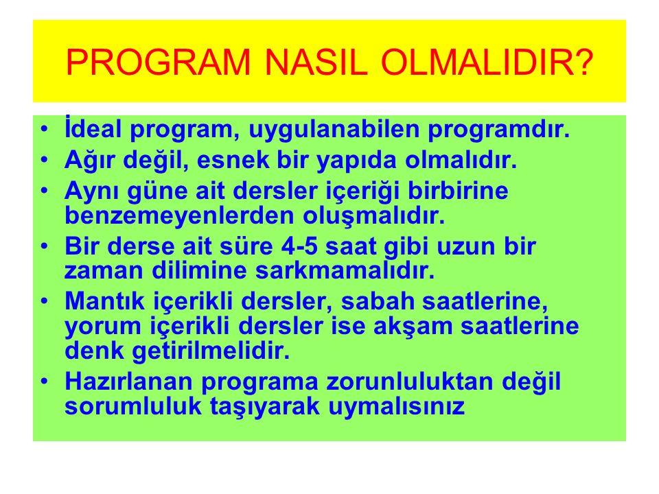 PROGRAM NASIL OLMALIDIR? İdeal program, uygulanabilen programdır. Ağır değil, esnek bir yapıda olmalıdır. Aynı güne ait dersler içeriği birbirine benz