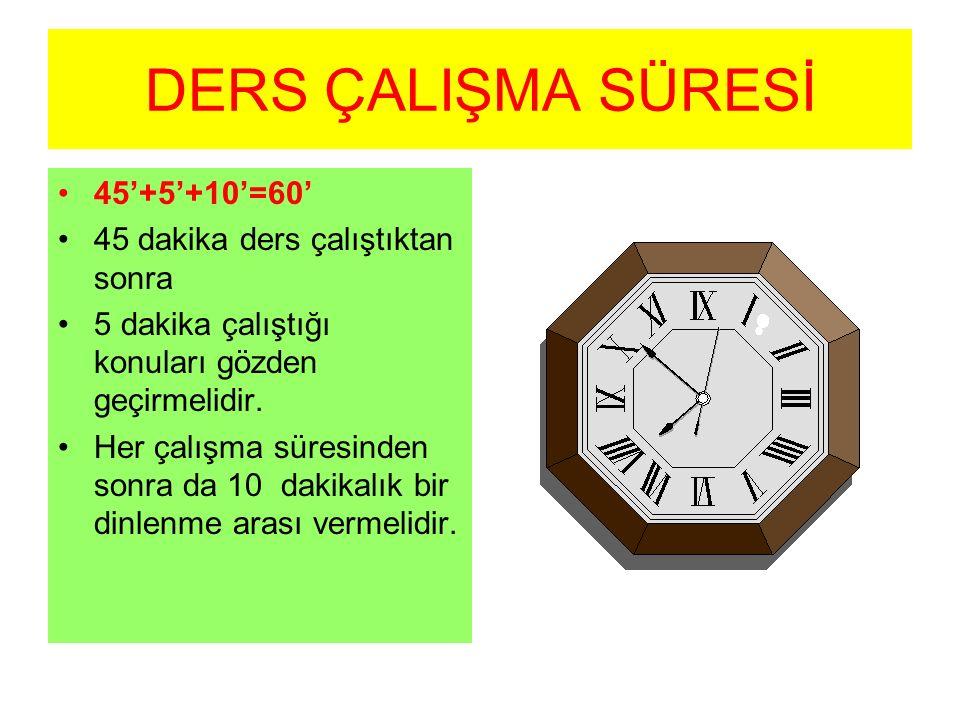 DERS ÇALIŞMA SÜRESİ 45'+5'+10'=60' 45 dakika ders çalıştıktan sonra 5 dakika çalıştığı konuları gözden geçirmelidir. Her çalışma süresinden sonra da 1