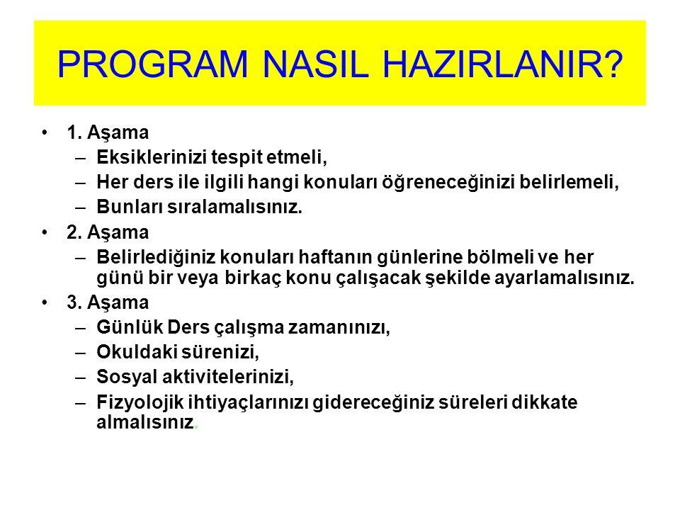 PROGRAM NASIL OLMALIDIR.İdeal program, uygulanabilen programdır.