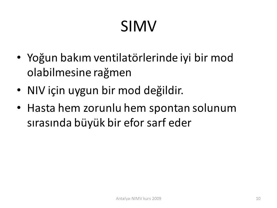SIMV Yoğun bakım ventilatörlerinde iyi bir mod olabilmesine rağmen NIV için uygun bir mod değildir. Hasta hem zorunlu hem spontan solunum sırasında bü
