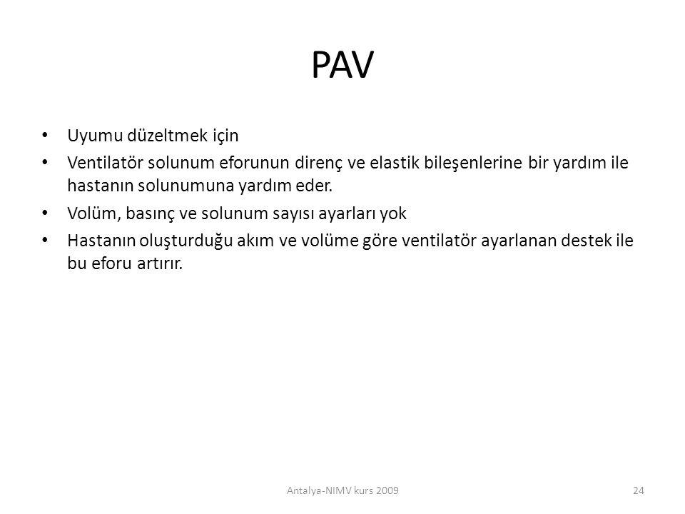 PAV Uyumu düzeltmek için Ventilatör solunum eforunun direnç ve elastik bileşenlerine bir yardım ile hastanın solunumuna yardım eder. Volüm, basınç ve