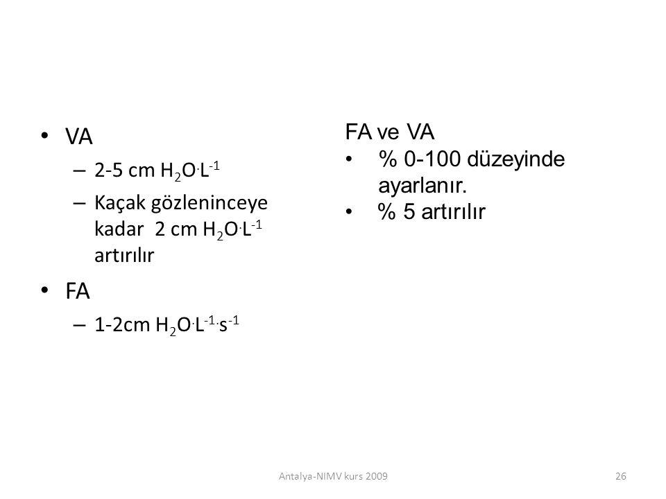 VA – 2-5 cm H 2 O. L -1 – Kaçak gözleninceye kadar 2 cm H 2 O. L -1 artırılır FA – 1-2cm H 2 O. L -1. s -1 Antalya-NIMV kurs 200926 FA ve VA % 0-100 d