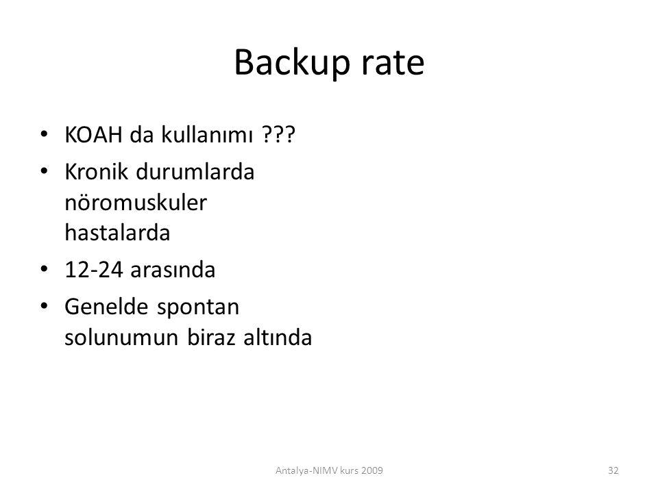 Backup rate KOAH da kullanımı ??? Kronik durumlarda nöromuskuler hastalarda 12-24 arasında Genelde spontan solunumun biraz altında Antalya-NIMV kurs 2