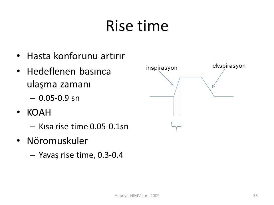 Rise time Hasta konforunu artırır Hedeflenen basınca ulaşma zamanı – 0.05-0.9 sn KOAH – Kısa rise time 0.05-0.1sn Nöromuskuler – Yavaş rise time, 0.3-