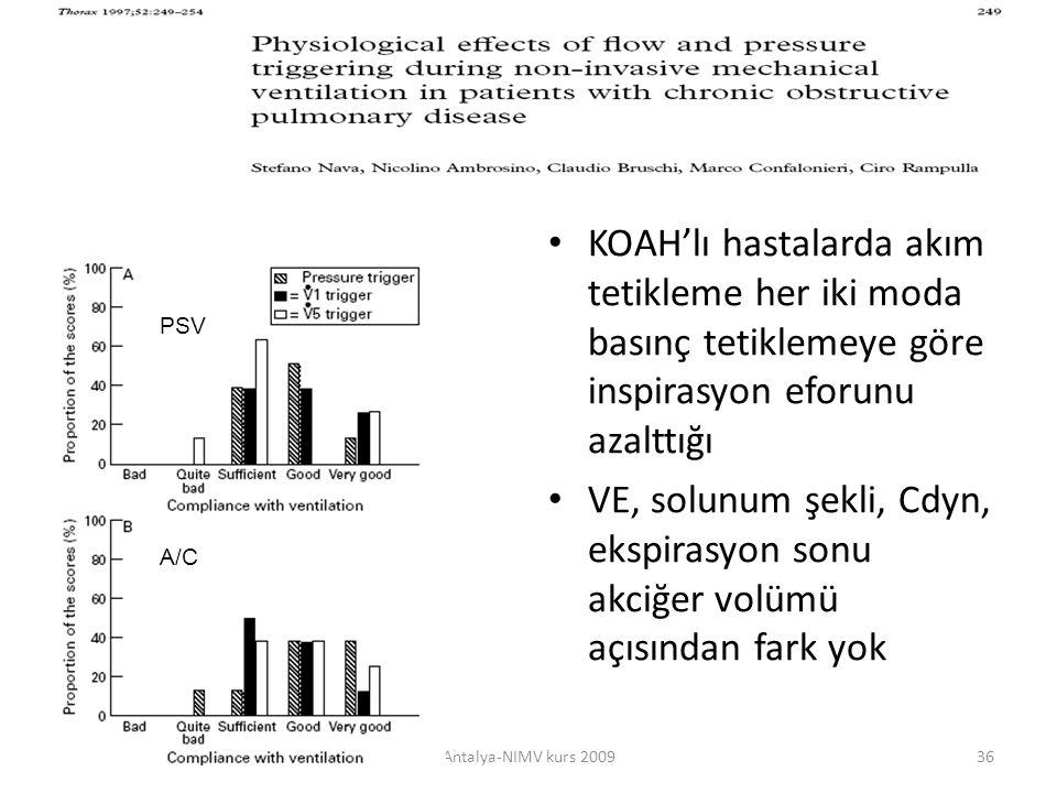 KOAH'lı hastalarda akım tetikleme her iki moda basınç tetiklemeye göre inspirasyon eforunu azalttığı VE, solunum şekli, Cdyn, ekspirasyon sonu akciğer