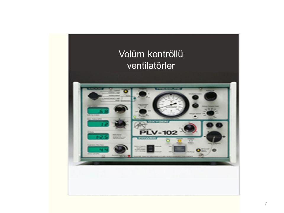 Volüm kontrollü ventilatörler Solunum yetmezliği – Kronik (evde) – Akut Oksijen Alarmlar Basınç oluşturma yeteneği fazla Batarya, 1 saat Uzun süreli ventilasyonda – Göğüs deformitesi – Obezite Eksiklikler – Sabit volüm – Kaçak kompazasyon yeteneğinin olmaması – Hastanın talebine göre değişken akım sağlamıyor Zorunlu kare akım – Sınırlı PEEP uygulaması Antalya-NIMV kurs 20098