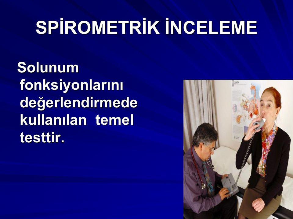 Spirometre soluk alıp verme sırasında oluşan akım veya vol ü m değişikliklerini zamanın t ü revi olarak ö l ç er.