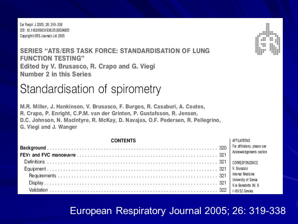 European Respiratory Journal 2005; 26: 319-338