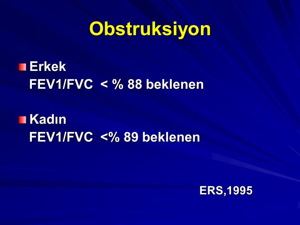 Obstruksiyon Erkek FEV1/FVC < % 88 beklenen FEV1/FVC < % 88 beklenenKadın FEV1/FVC <% 89 beklenen FEV1/FVC <% 89 beklenen ERS,1995 ERS,1995