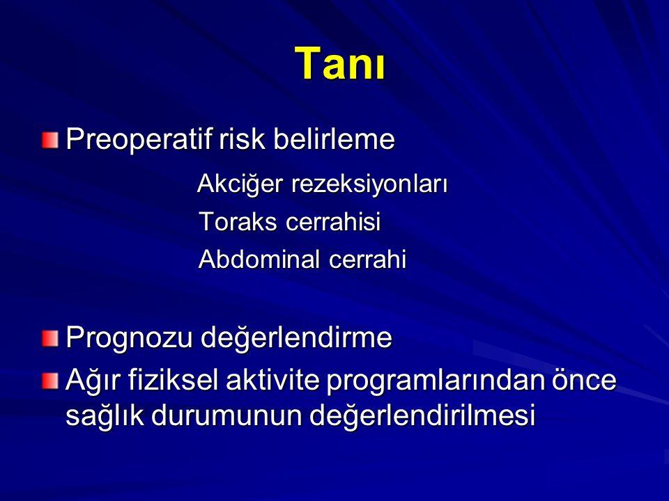 Tanı Tanı Preoperatif risk belirleme Akciğer rezeksiyonları Akciğer rezeksiyonları Toraks cerrahisi Toraks cerrahisi Abdominal cerrahi Abdominal cerra