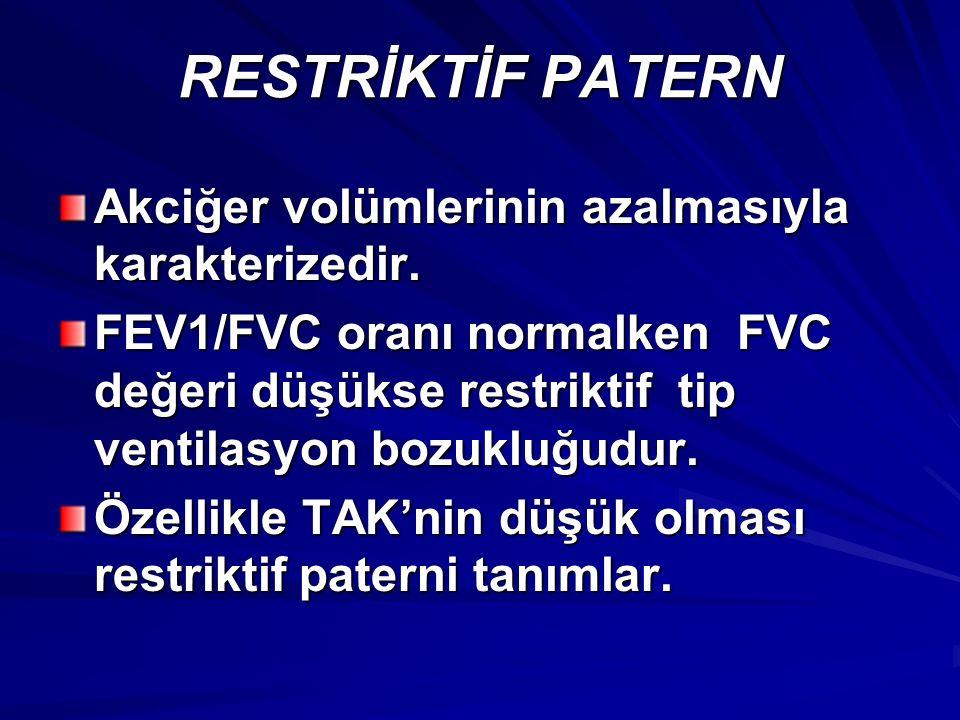 RESTRİKTİF PATERN Akciğer volümlerinin azalmasıyla karakterizedir. FEV1/FVC oranı normalken FVC değeri düşükse restriktif tip ventilasyon bozukluğudur